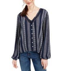 hippie rose juniors' crochet-trim blouse
