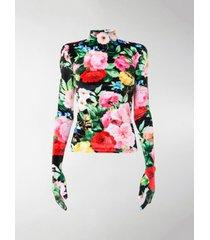richard quinn floral full sleeve velour blouse