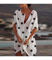 zanzea verano de las mujeres de manga corta casual botón flojo del lunar mini vestido vestido de tirantes más del tamaño -blanco