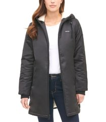 levi's women's long coaches jacket with soft sherpa lining