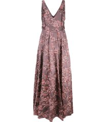 badgley mischka floral evening dress - purple