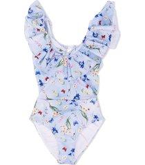 monnalisa embroidered ruffle swimsuit - blue