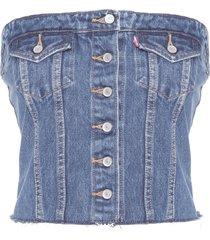 top feminino jeans - azul