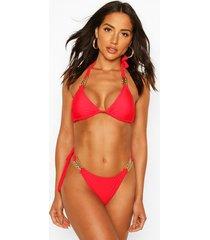 trim detail tie bikini, red