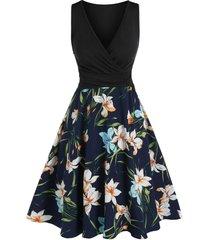 flower pattern v neck surplice dress