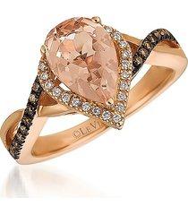 le vian women's red carpet® 14k strawberry gold®, peach morganite™, chocolate diamonds® & vanilla diamonds® ring/size 7 - size 7
