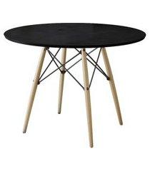 mesa de jantar redonda eiffel wood preto 110 cm