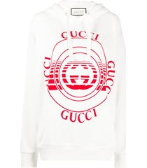 gucci logo-print drop-shoulder hoodie - white