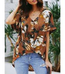 yoins botón marrón diseño blusa de manga corta con estampado floral