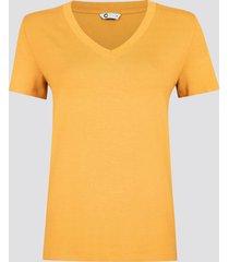t-shirt med v-ringning - gul