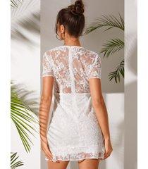 bordado blanco yoins con forro cuello en v vestido
