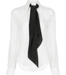 alexis crawford scarf detail shirt - white