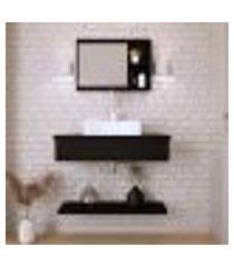 conjunto para banheiro bancada com cuba q39 quadrada, prateleira e espelheira city 806 preto ônix