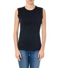 maison margiela sleeveless black cotton t shirt