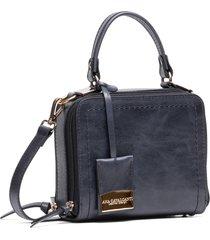 bolsa couro ana cavalcanti quadrada mini preto envelhecido
