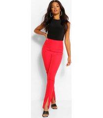 super skinny broek met voorsplit, rood