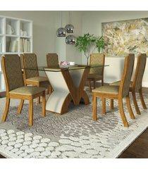 mesa de jantar 6 lugares frida seda/branco/neve - viero móveis