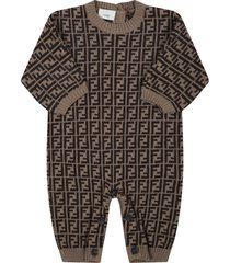 fendi beige jumpsuit for babykids with double ff