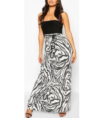 2 in1 mixed animal print bandeau maxi dress, multi