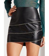 yoins black pu leather zip design high-waisted skirt