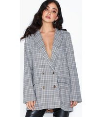 missguided co ord checked oversized blazer jackor