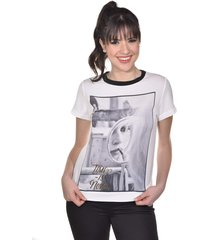blusa manga curta banca fashion casual chique off-white