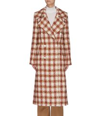 oversize lapel double breast check tweed men's coat