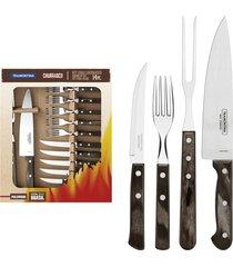 kit para churrasco tramontina em aço inox com cabo castanho polywood 14 peças 21199989