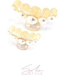 soho style imitation pearl hair jaw hair clip, set of 2