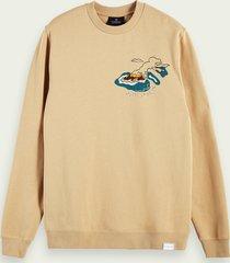scotch & soda sweater met print en lange mouwen van een duurzame katoenmix