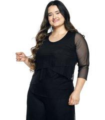 blusa malla negra plica