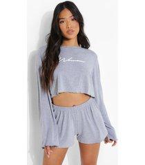 petite woman pyjama set met shorts, grey