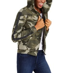 true religion studded camo print hoodie jacket