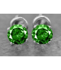 1 ct round cut emerald 925 silver screw back stud earrings 10k white gold over