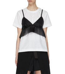 sheer bralette cotton t-shirt