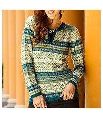 100% alpaca sweater, 'snowflake meadow' (peru)