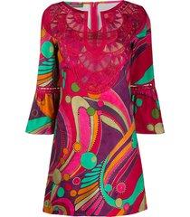 alberta ferretti embroidered neck shift dress - pink