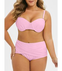 plus size criss cross cut out neon bikini set
