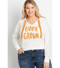 maurices plus size womens orange homegrown waffle knit hoodie