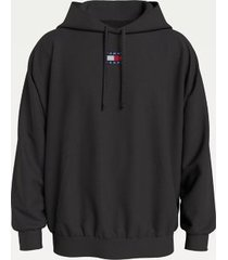 tommy hilfiger men's organic cotton tommy badge hoodie black - xs