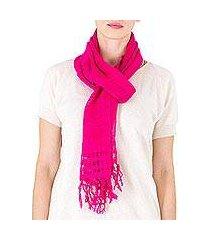 cotton scarf, 'sweet femininity in cerise' (nicaragua)