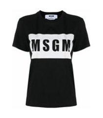 msgm camiseta com estampa de logo - preto