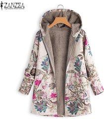 zanzea mujer de manga larga de lana casual sudaderas con capucha capucha abrigo outwear más el tamaño de la chaqueta de las mujeres -rojo