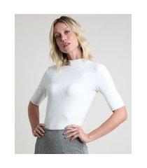 blusa feminina básica canelada manga curta gola alta off white