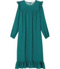 mönstrad volangklänning med lång ärm