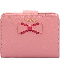 prada bow-embellished saffiano wallet - pink