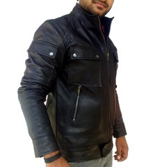 handmade new men superb strap pocket slim fit leather jacket, men leather jacket