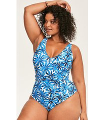 palermo curve floral belted tummy control one-piece swimsuit