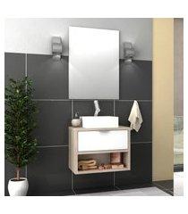 conjunto banheiro malta bosi gabinete suspenso + cuba e espelho barrique/branco