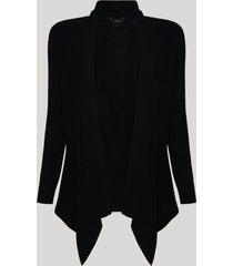 capa de tricô feminino com barra assimétrica preta